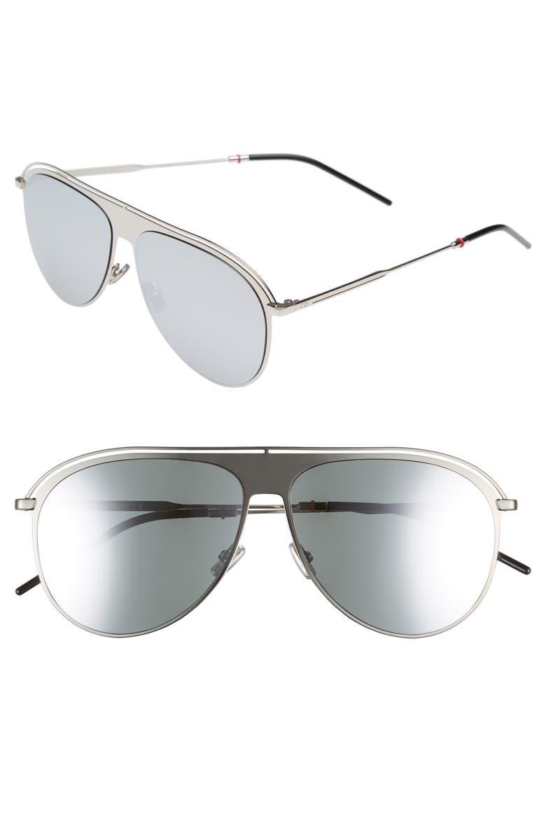 DIOR 59mm Polarized Aviator Sunglasses, Main, color, PALLADIUM/ POLAR