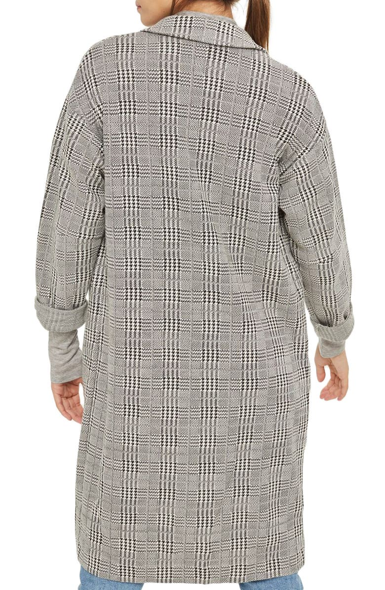 TOPSHOP Check Jersey Duster Coat, Main, color, 020