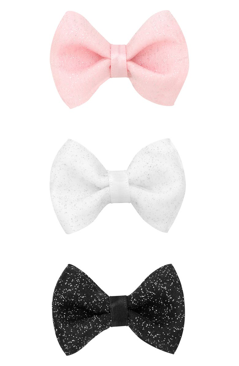 PLH BOWS 3-Pack Glitter Tulle Bow Hair Clips, Main, color, WHITE/ LIGHT PINK/ BLACK
