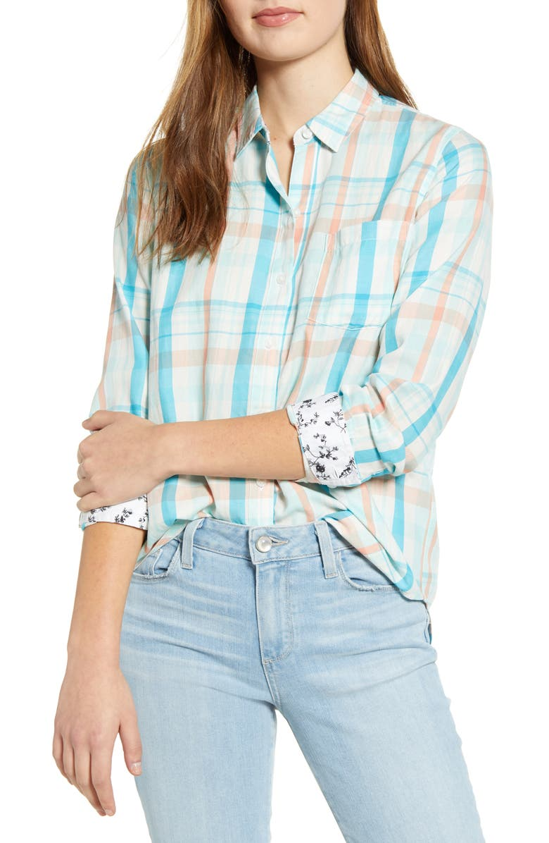 LUCKY BRAND Plaid One-Pocket Shirt, Main, color, MINT MULTI