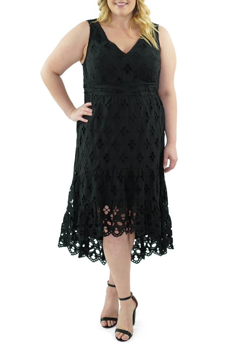 MARÉE POUR TOI V-Neck Sleeveless Cotton Eyelet Dress, Main, color, BLACK