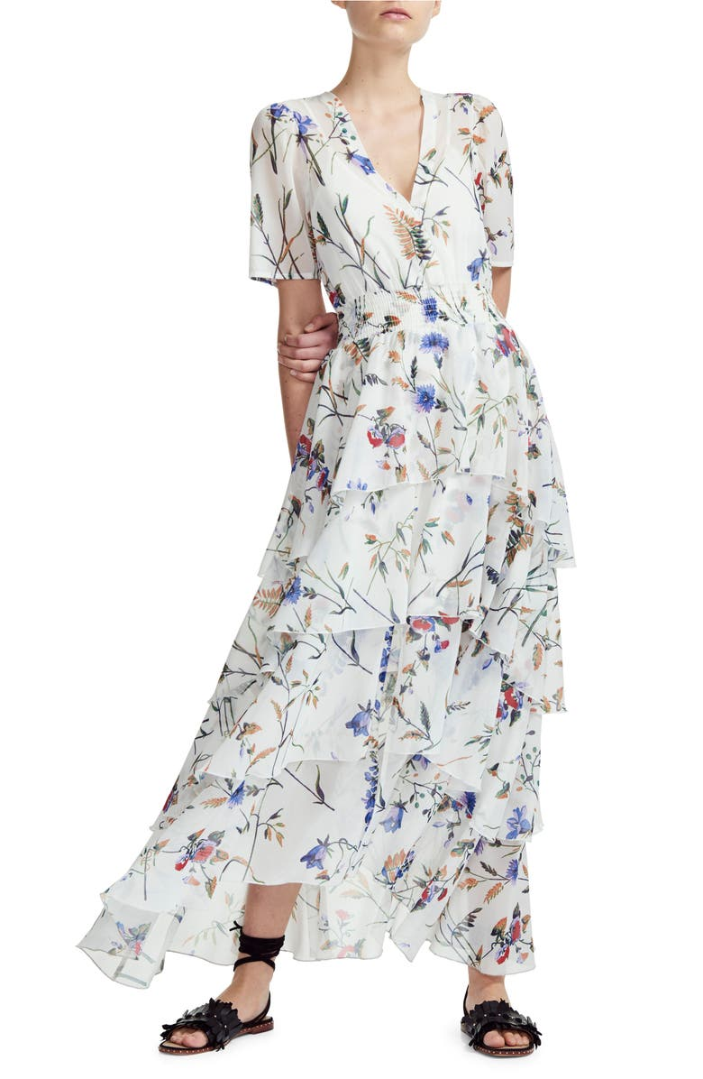 MAJE Floral Smock Waist Tiered Ruffle Dress, Main, color, 001