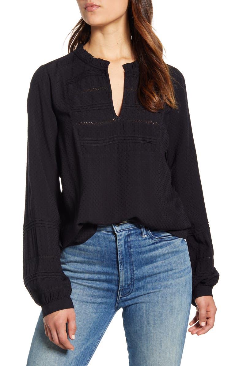 LUCKY BRAND Kourtney Long Sleeve Dobby Top, Main, color, LUCKY BLACK