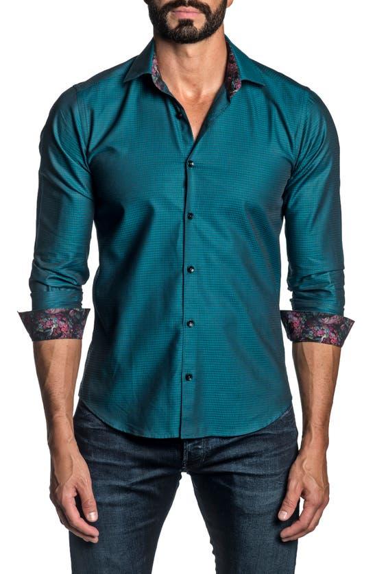 Jared Lang Shirts REGULAR FIT GEOMETRIC BUTTON-UP SHIRT