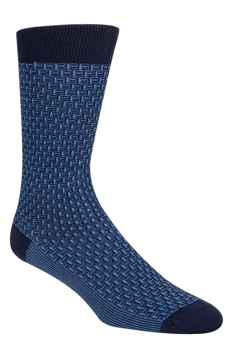COLE HAAN Dog Bone Texture Crew Socks, Main, color, PROVENCE