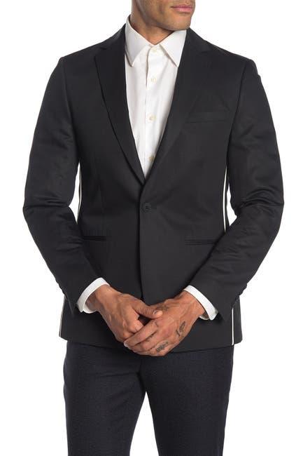 Image of Calvin Klein Black Slim Fit Pipe Trim Suit Separate Jacket