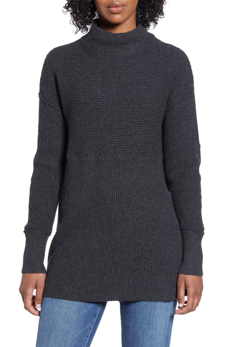 CASLON<SUP>®</SUP> Ribbed Tunic Sweater, Main, color, HEATHER CHARCOAL