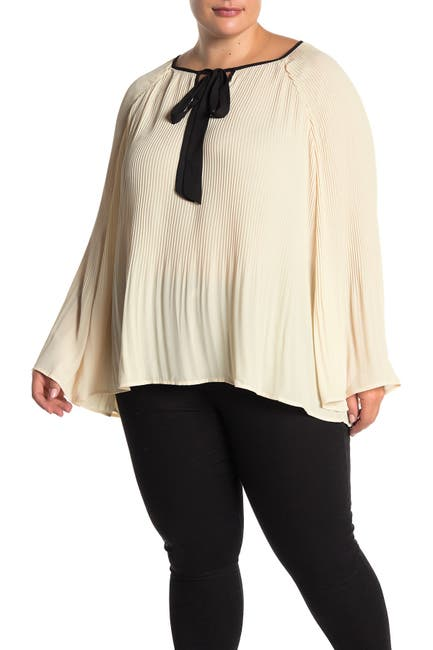 Image of B Collection by Bobeau Ivanna Pleated Wide Sleeve Blouse