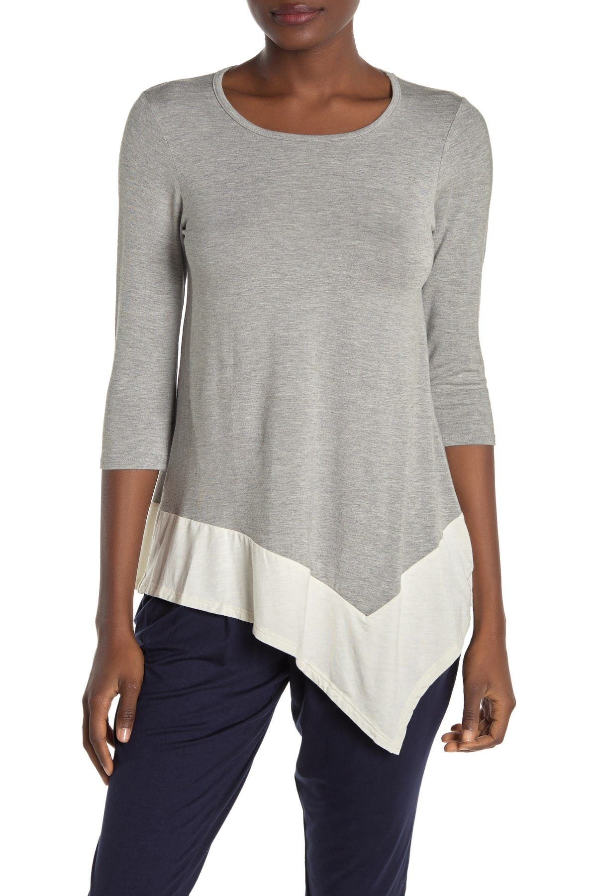 Image of Loveappella 3/4 Sleeve Asymmetrical Blouse