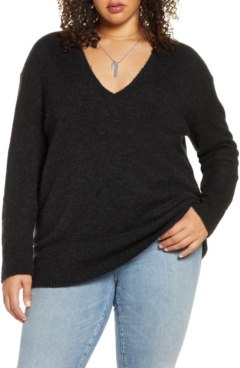 TREASURE & BOND V-Neck Tunic Sweater, Main, color, GREY DARK CHARCOAL HEATHER