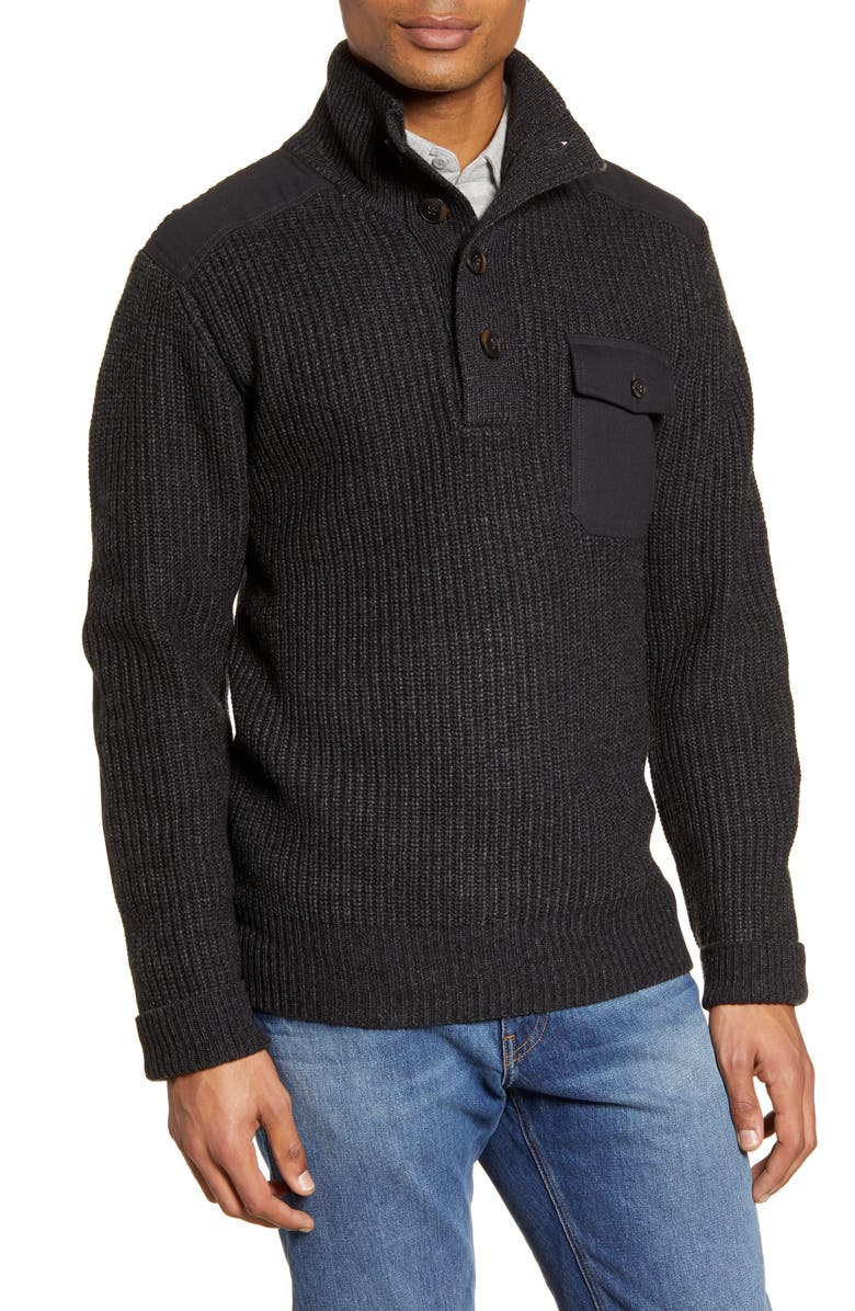 SCHOTT NYC Wool Blend Military Sweater, Main, color, BLACK
