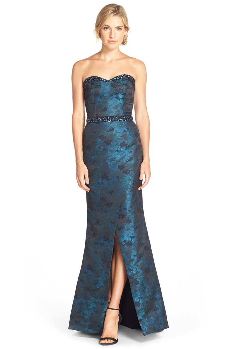 PAMELLA, PAMELLA ROLAND Embellished Jacquard Mermaid Gown, Main, color, PEACOCK