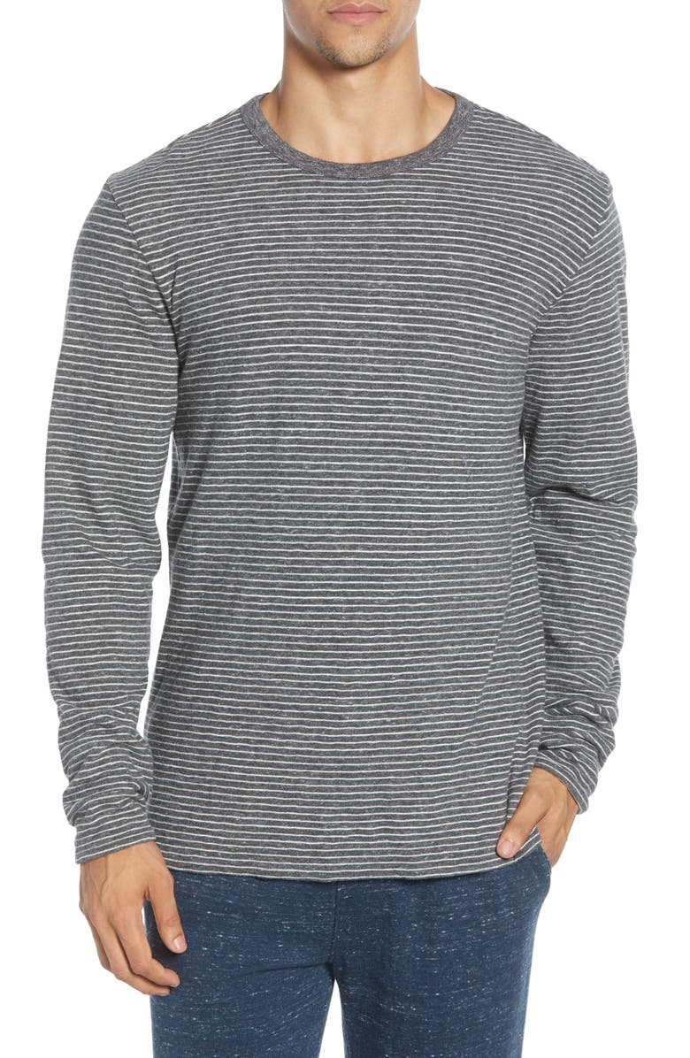 FAHERTY Luxe Heather Regular Fit Reversible Crewneck T-Shirt, Main, color, CHARCOAL GREY STRIPE