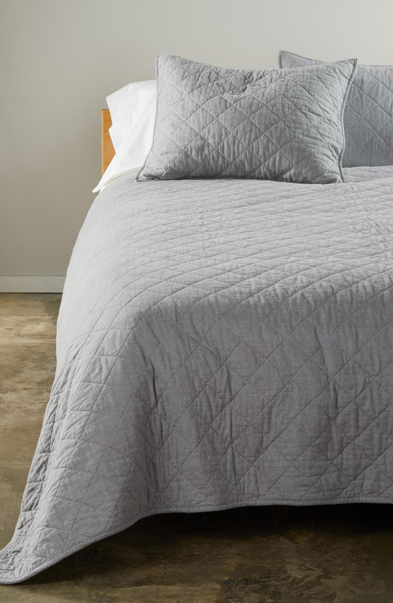 NORDSTROM Flannel Reversible Quilt, Main, color, GREY FROST HEATHER MULTI