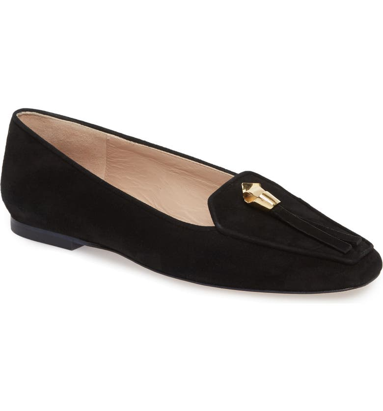 STUART WEITZMAN Slipknot Loafer, Main, color, BLACK SUEDE
