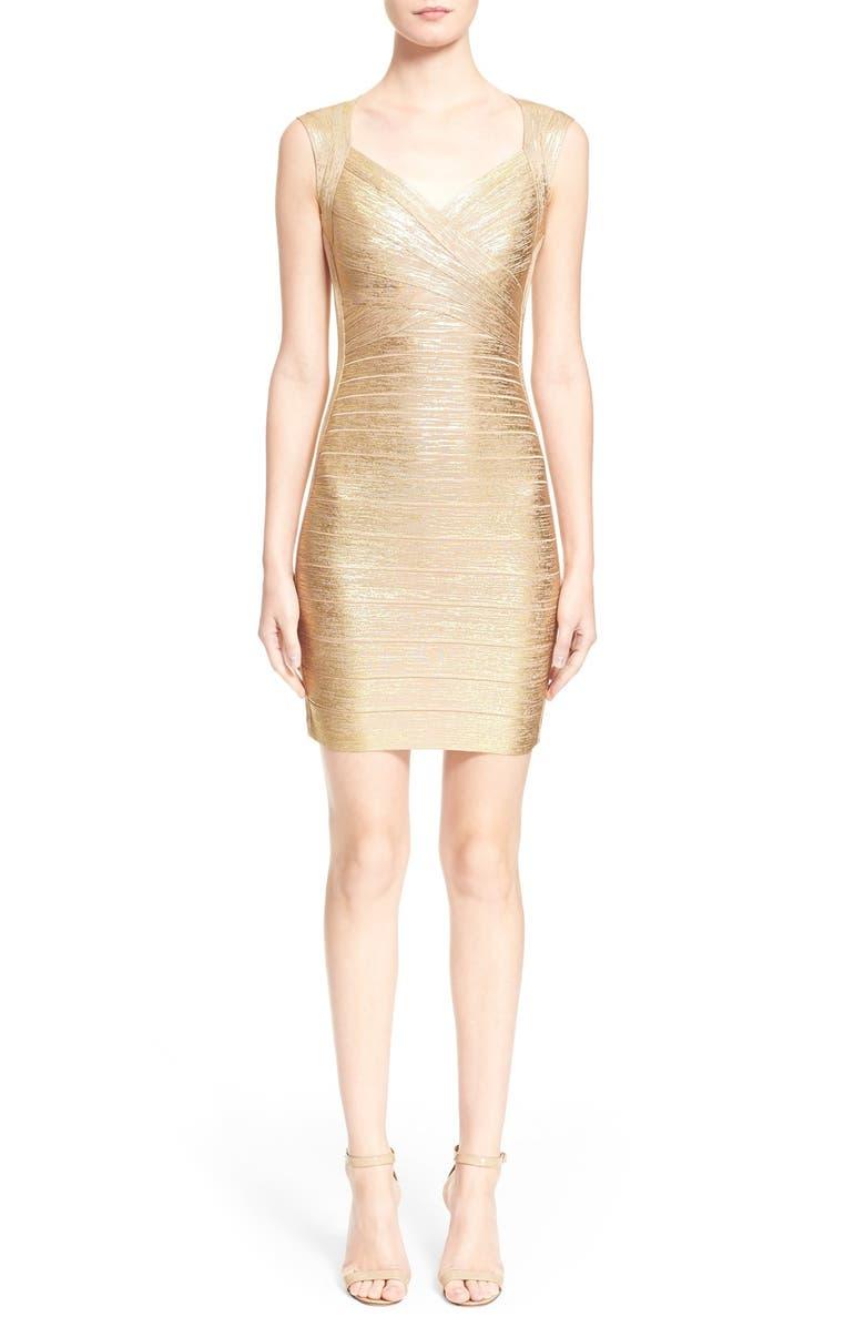 HERVE LEGER Metallic Bandage Dress, Main, color, 788