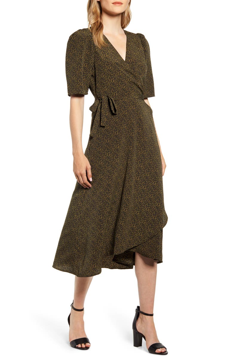 BOBEAU Liv Puff Sleeve Wrap Dress, Main, color, DITSY LEOPARD OLIVE