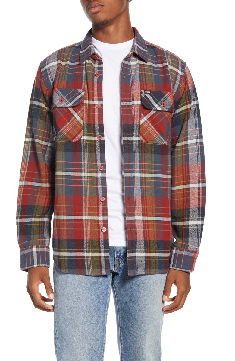 OBEY Wyatt Trim Fit Plaid Flannel Button-Up Shirt, Main, color, RED STONE