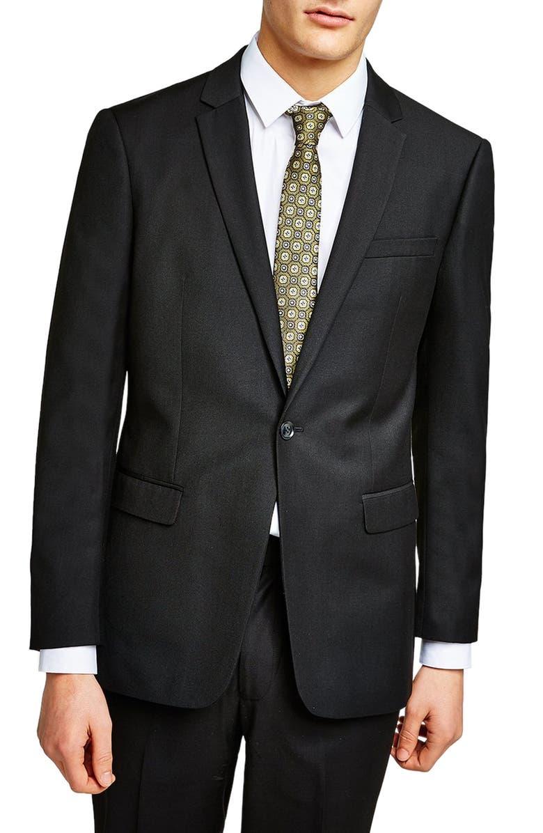 TOPMAN Slim Fit Suit Jacket, Main, color, BLACK