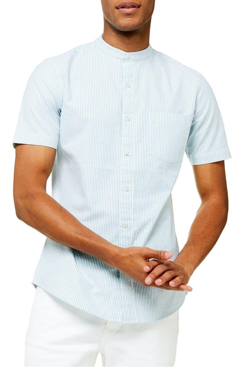 TOPMAN Grandad Oxford Stripe Slim Fit Short Sleeve Button-Up Shirt, Main, color, GREEN MULTI