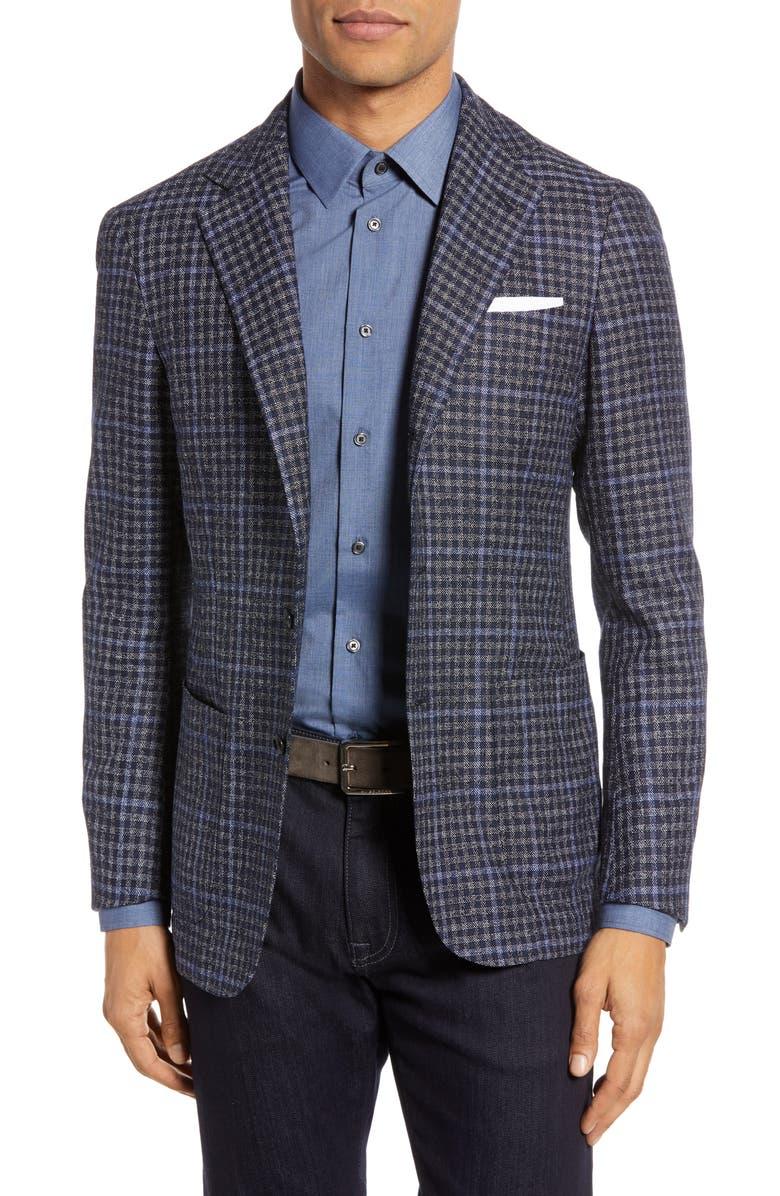 RING JACKET Trim Fit Windowpane Wool Blend Sport Coat, Main, color, BLUE