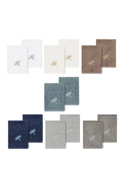 Image of LINUM HOME Braelyn Embellished Washcloth - Set of 2 - Latte