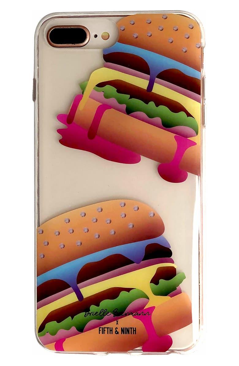 FIFTH & NINTH x Brielle Biermann Eat In Get Out iPhone 6/6s/7/8 Plus Case, Main, color, BLUE