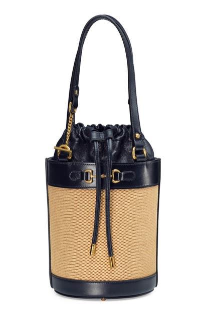 Gucci SMALL 1955 HORSEBIT CANVAS & LEATHER BUCKET BAG
