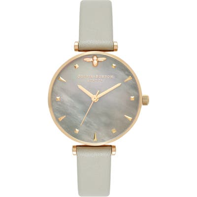 Olivia Burton Queen Bee Leather Strap Watch, 30Mm