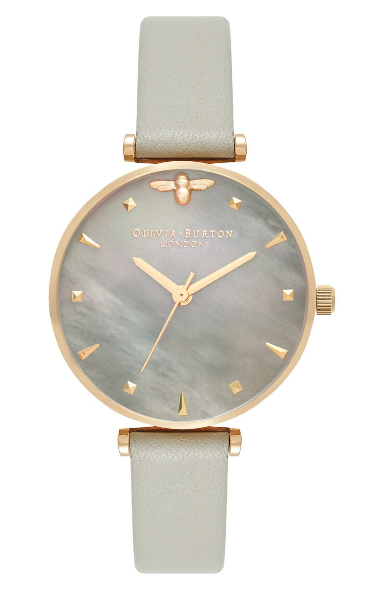 OLIVIA BURTON Queen Bee Leather Strap Watch, 30mm, Main, color, GREY/ MOP/ GOLD