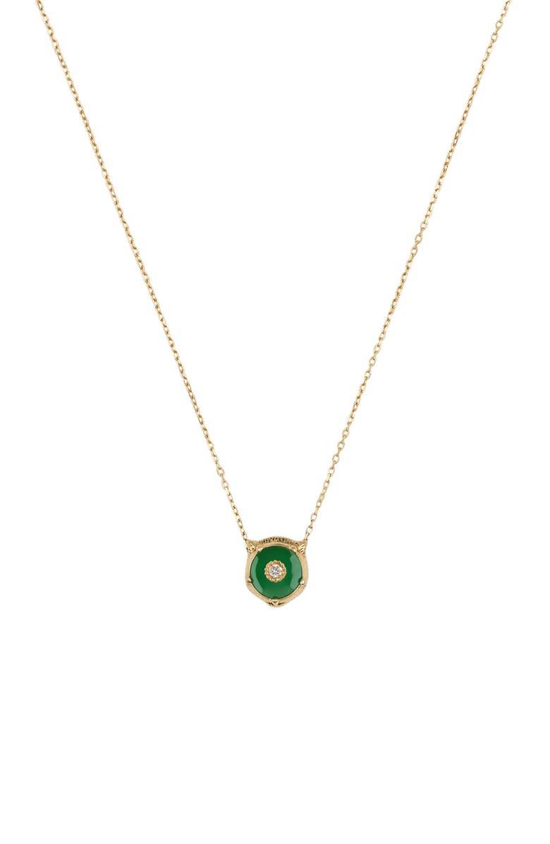 GUCCI Le Marché des Merveilles Feline Head Pendant Necklace, Main, color, YELLOW GOLD/ GREEN JADE