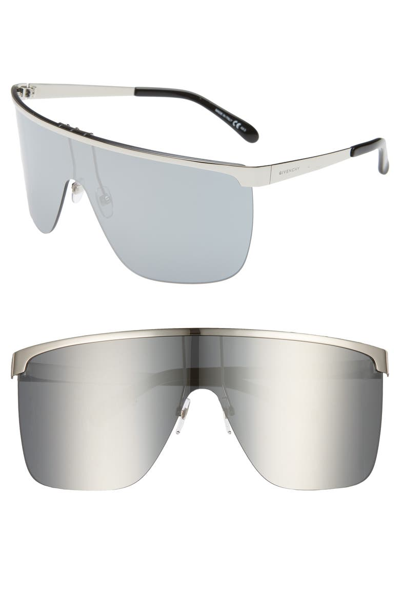 GIVENCHY 70mm Rimless Shield Sunglasses, Main, color, PALLADIUM