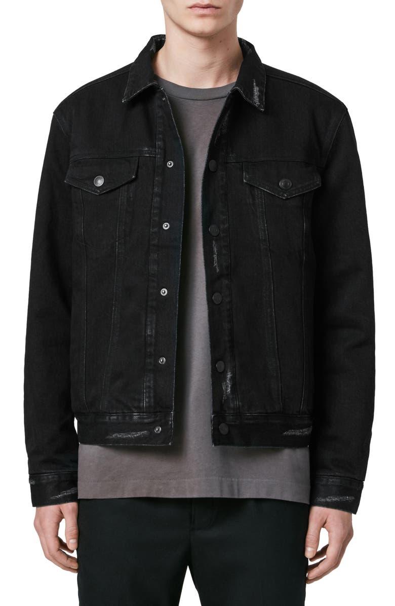 ALLSAINTS Brind Regular Fit Stretch Cotton Jacket, Main, color, WASHED BLACK/ BLACK