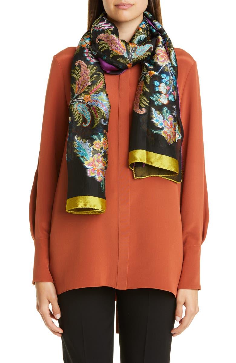 ETRO Jacquard Floral Scarf, Main, color, BLACK