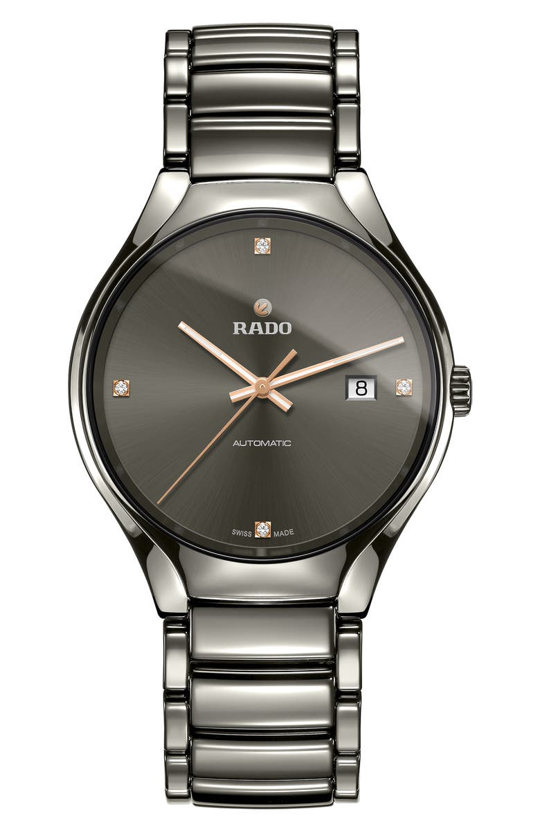 RADO True Automatic Bracelet Watch, 40mm, Main, color, GUNMETAL/ GREY