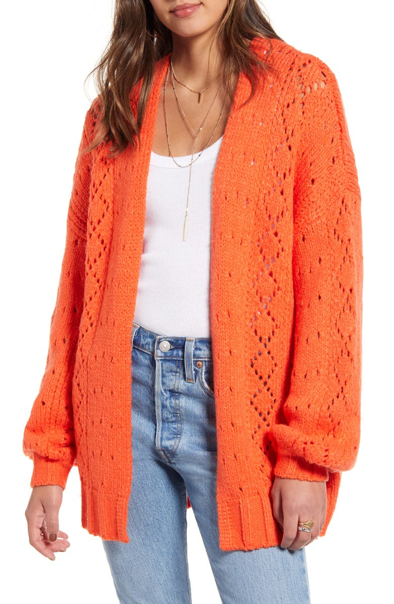 BILLABONG Blissed Out Pointelle Cardigan, Main, color, TIGER LILY