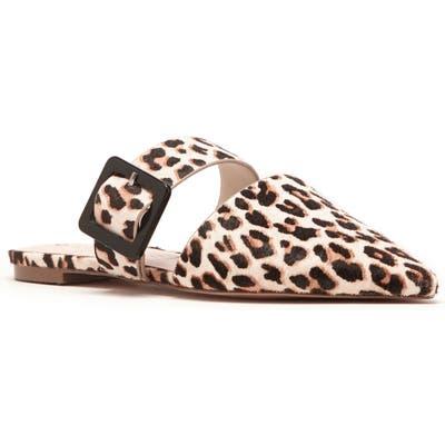 Sole Society Tanitha Pointed Toe Genuine Calf Hair Mule- Beige