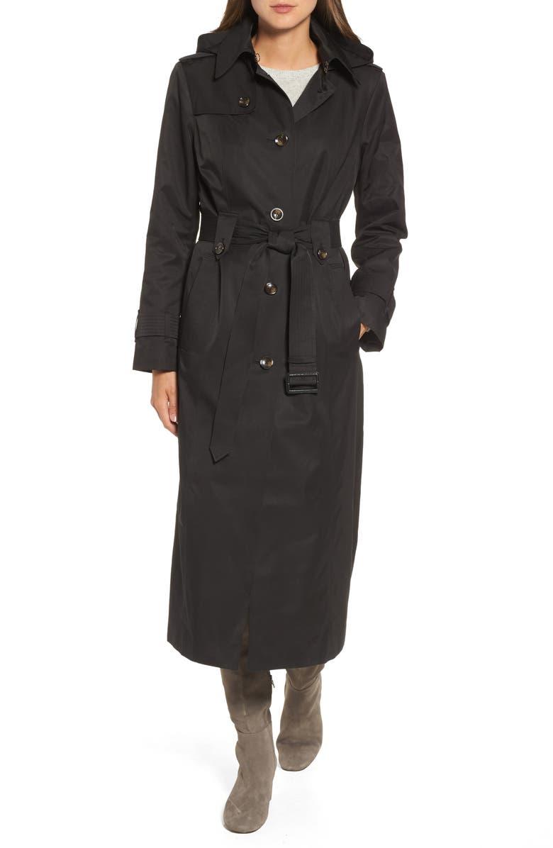 LONDON FOG Long Trench Coat, Main, color, 001