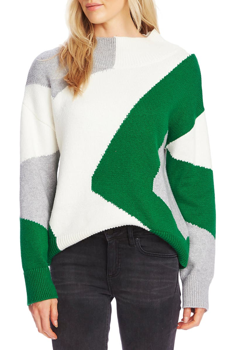 VINCE CAMUTO Vince Camtuo Colorblock Intarsia Mock Neck Cotton Blend Sweater, Main, color, EVERGLADE
