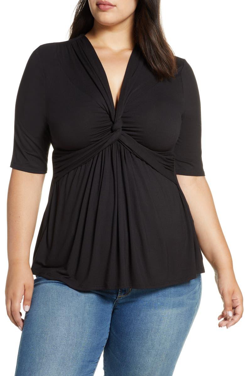 KIYONNA Caycee Twist Top, Main, color, BLACK NOIR
