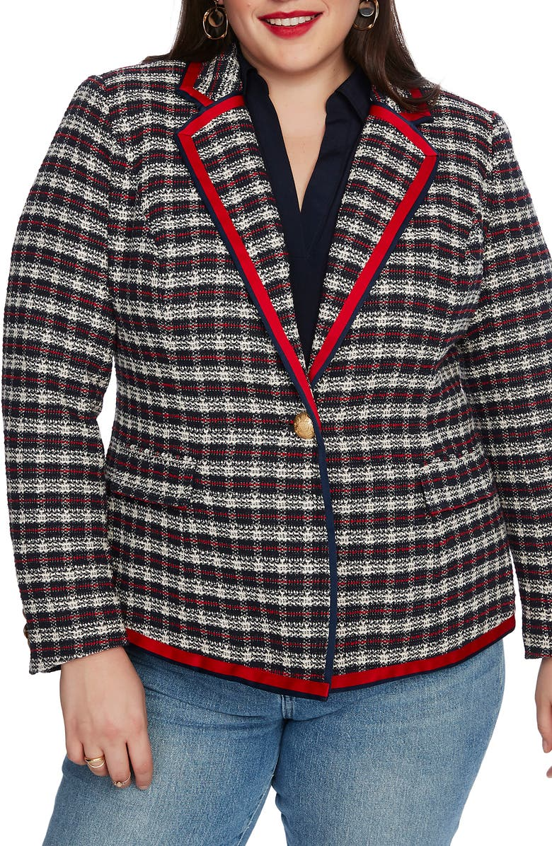 COURT & ROWE Satin Trim Plaid Tweed Blazer, Main, color, 400