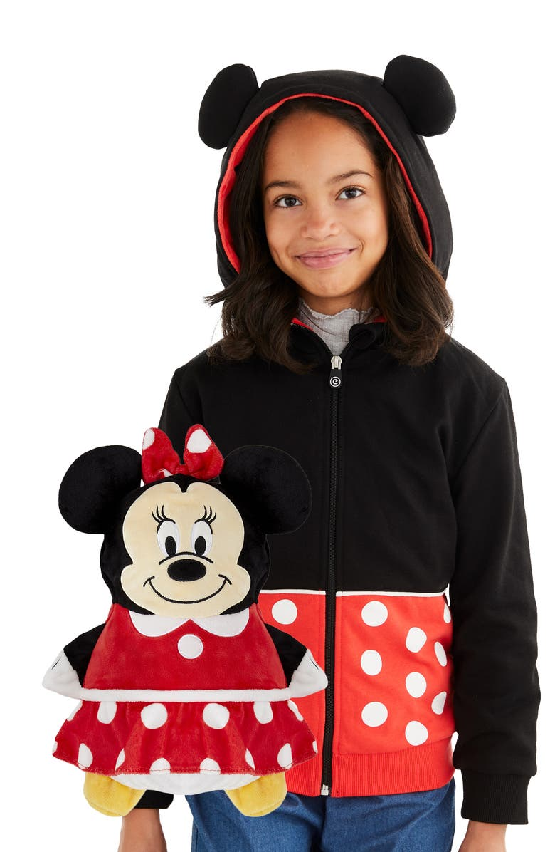 CUBCOATS Disney Minnie Mouse 2-in-1 Stuffed Animal Hoodie, Main, color, BLACK / RED MIX