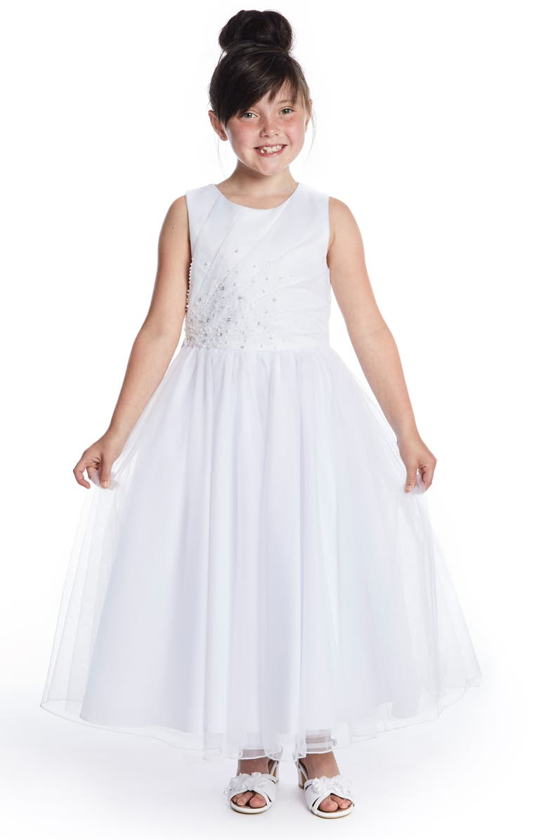 LAUREN MARIE Beaded First Communion Dress, Main, color, 100