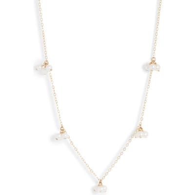 Poppy Finch Baby Pearl Trio Gold Station Necklace