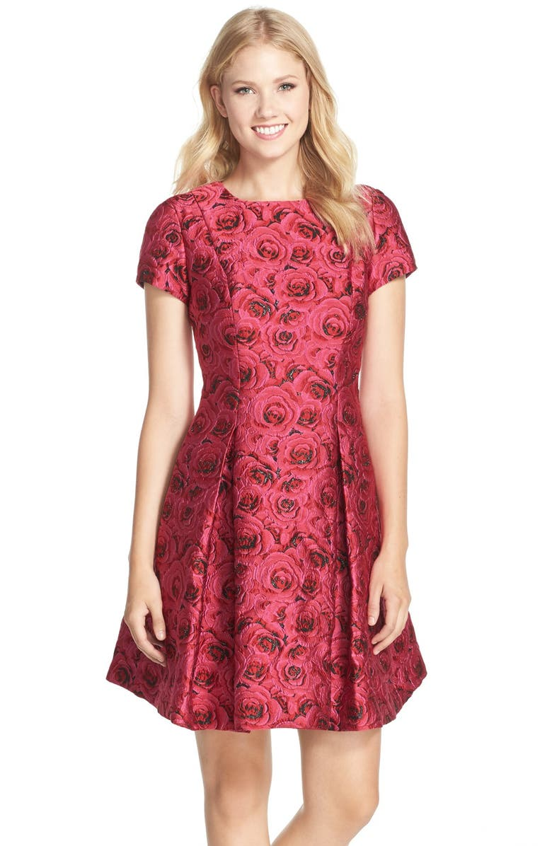 TAYLOR DRESSES Floral Jacquard Fit & Flare Dress, Main, color, 690