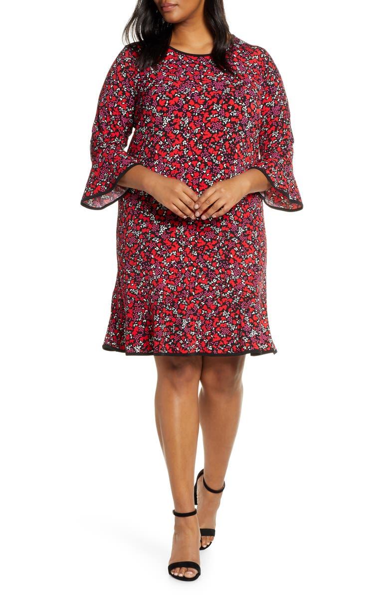 MICHAEL MICHAEL KORS Woodland Leaf Flounce Shift Dress, Main, color, 001