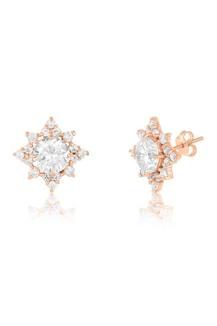 Image of Sterling Forever 14K Rose Gold Vermeil Plated Sterling Silver CZ Pointed Stud Earrings
