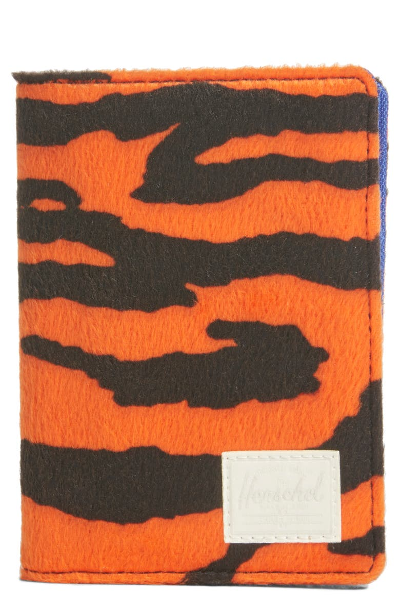 HERSCHEL SUPPLY CO. Raynor RFID Fleece Passport Case, Main, color, TIGER/ ROYAL BLUE