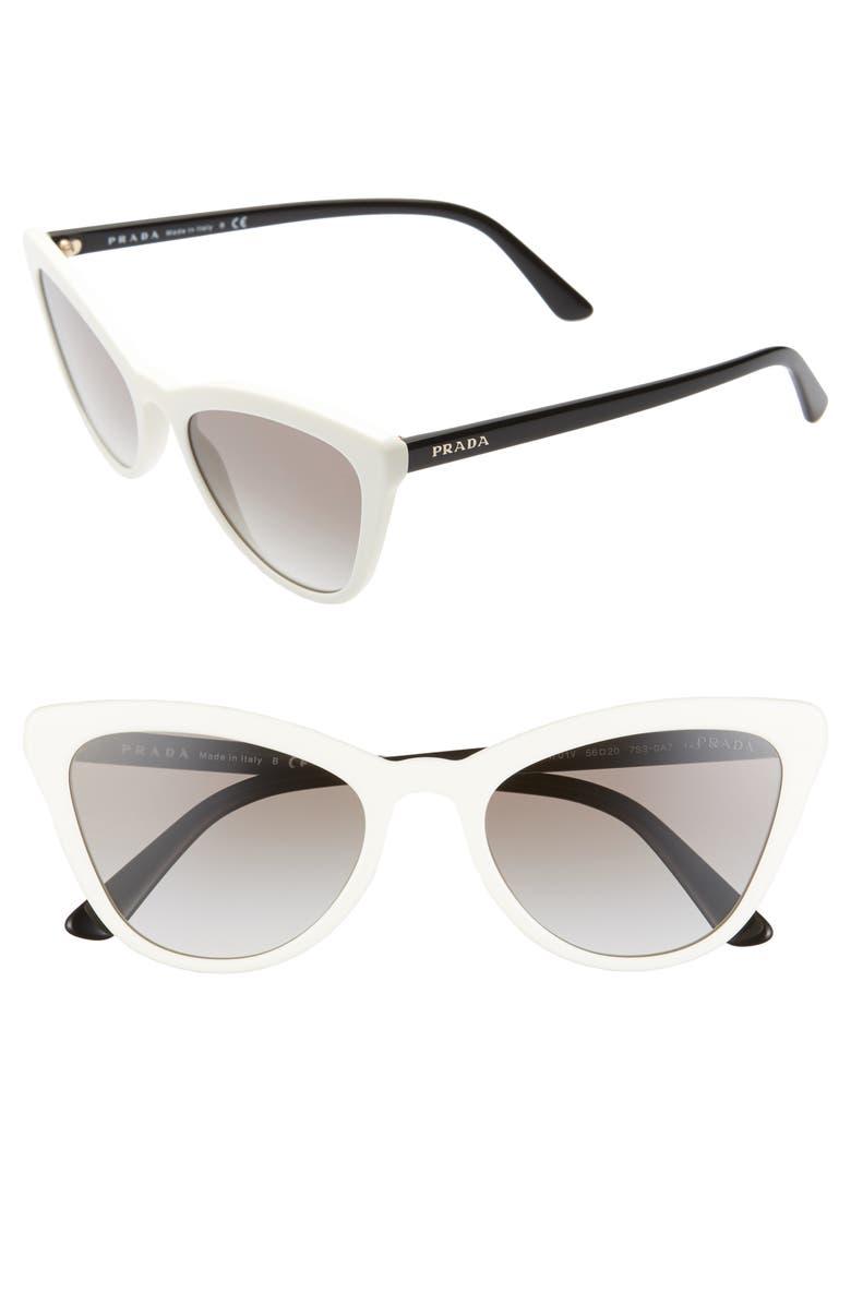 PRADA 56mm Cat Eye Sunglasses, Main, color, WHITE/ GREY GRADIENT