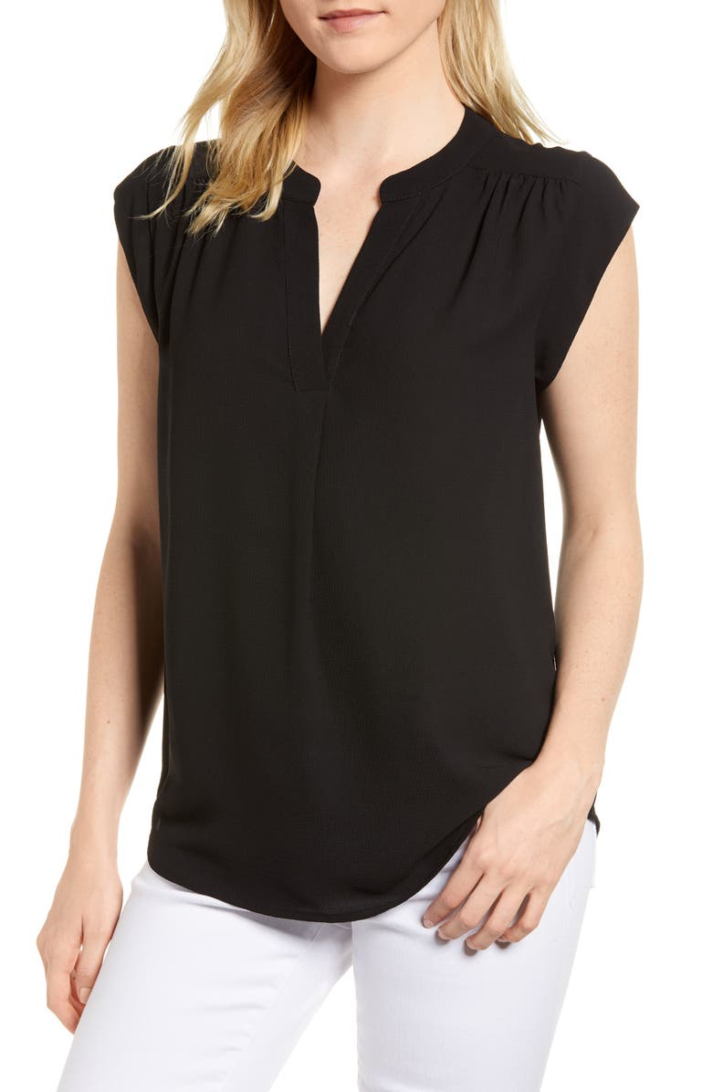 GIBSON x International Women's Day Ruthie Split Neck Blouse, Main, color, BLACK